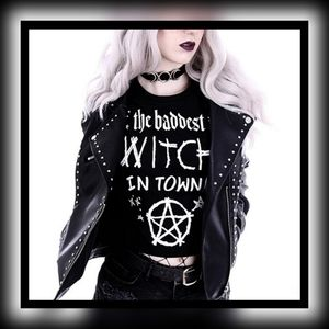 "Restyle ""The Baddest Witch in Town"" Crop Tee Black"